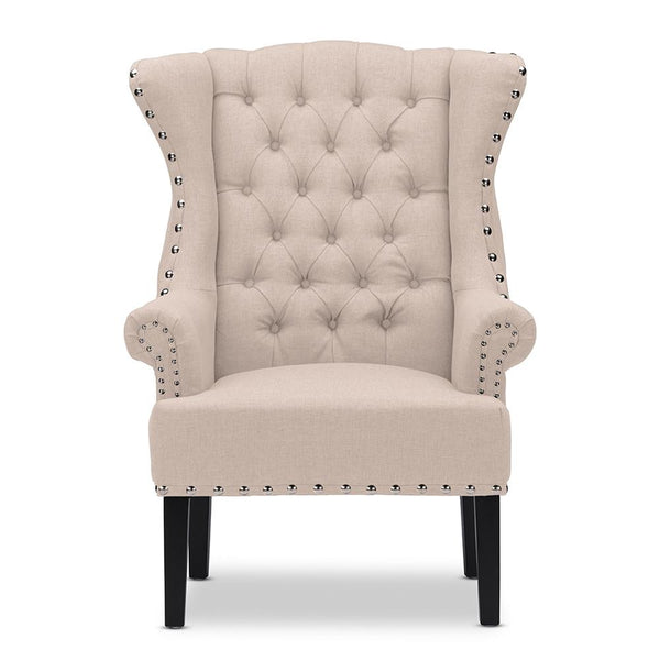 Kolby Linen Beige French Country Wingback Armchair - living-essentials