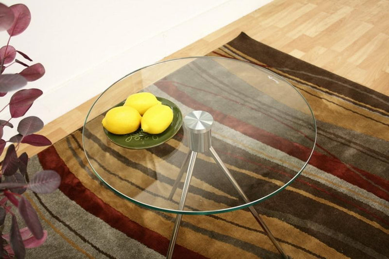 Round Glass Top End Table With Tripod Base - living-essentials