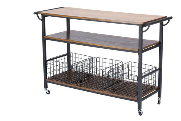 Leyton Brown Wood & Metal Kitchen Cart - living-essentials
