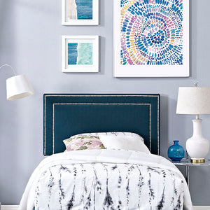 Jasmine Twin Fabric Headboard Azure Free Shipping