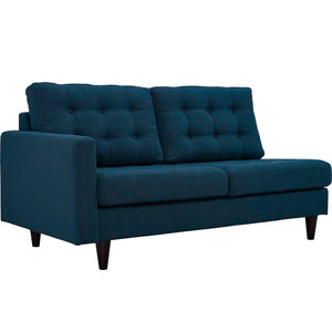 Emmy Left-Facing Upholstered Fabric Loveseat Azure Free Shipping