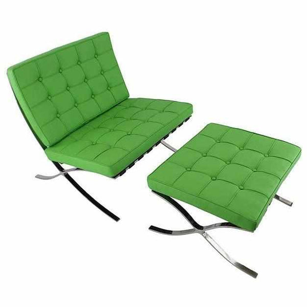 Knock Off Barcelona Chair barcelona style chair & ottoman reproduction - emfurn