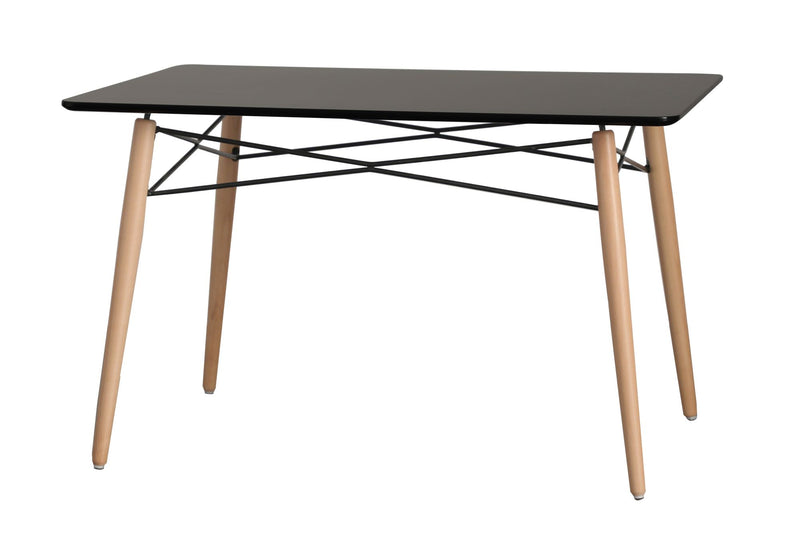 Eiffel Black Wood Top Dining Table - living-essentials