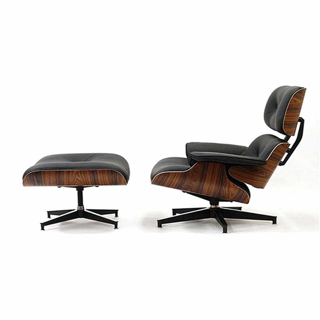 Emfurn Lounge Chair U0026 Ottoman Premium Reproduction Black / Top Grain  Italian Leather Walnut Chairs Free