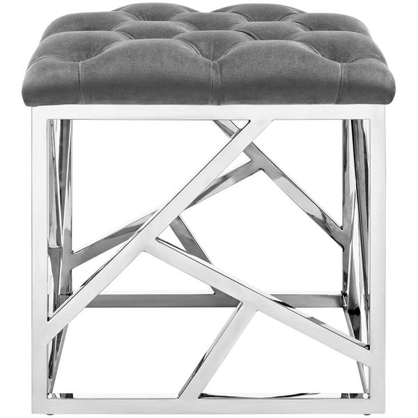 Irwin Silver Gray Ottoman - living-essentials