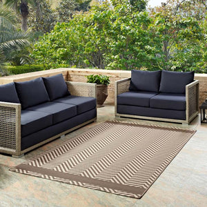 Opulence Chevron With End Borders 8X10 Indoor And Outdoor Area Rug Rugs Free Shipping