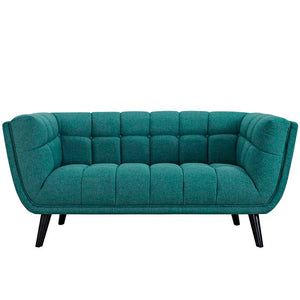 Becca Upholstered Fabric Loveseat Blue Free Shipping