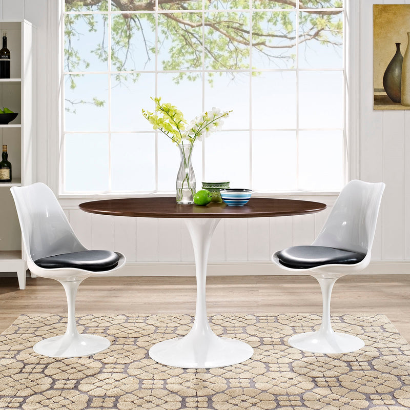 "Tulip Style 48"" Oval Shaped Walnut Dining Table"