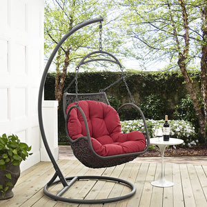Harbor Outdoor Patio Wood Swing Chair Red Chairs Free Shipping