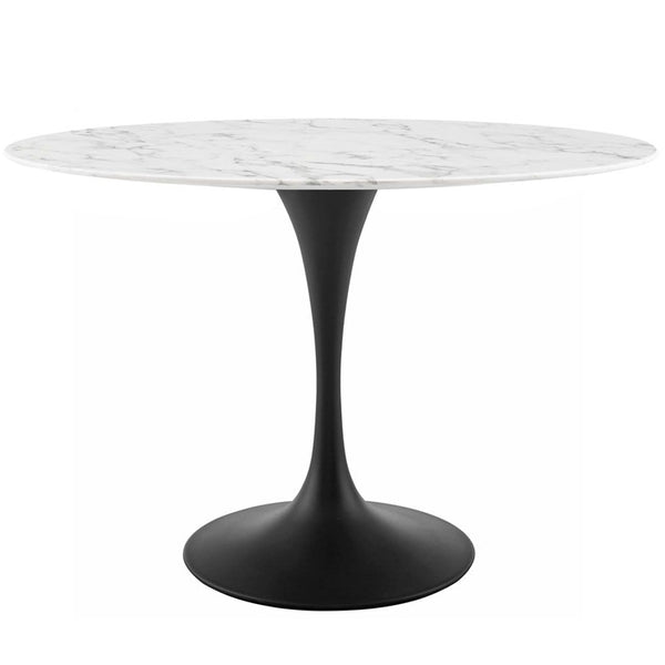 "Tulip Style 48"" Oval Artificial Marble Dining Table in Black White"