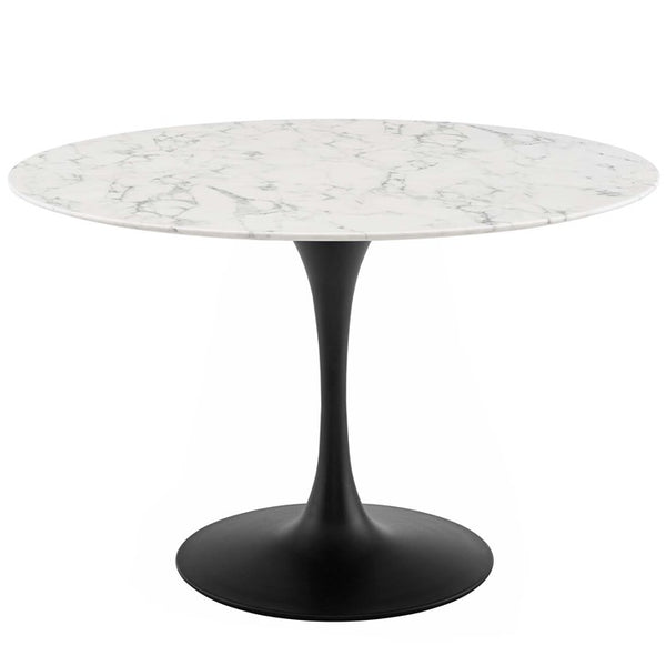 "Tulip Style 47"" Round Artificial Marble Dining Table in Black White"