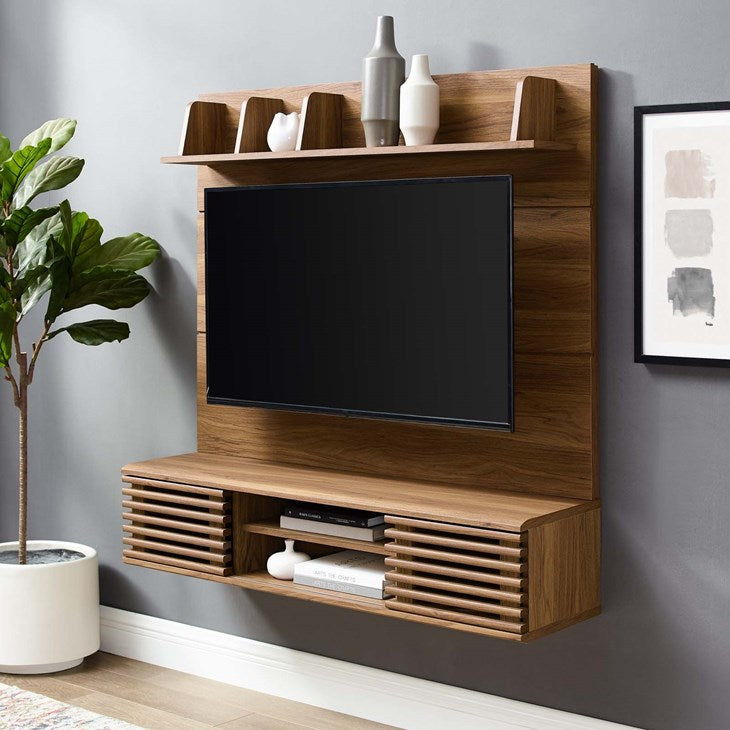 Grana Wall Mounted TV Stand Entertainment Center in Walnut