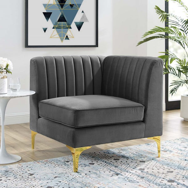 Elizabeth Channel Tufted Performance Velvet Sectional Sofa Corner Chair