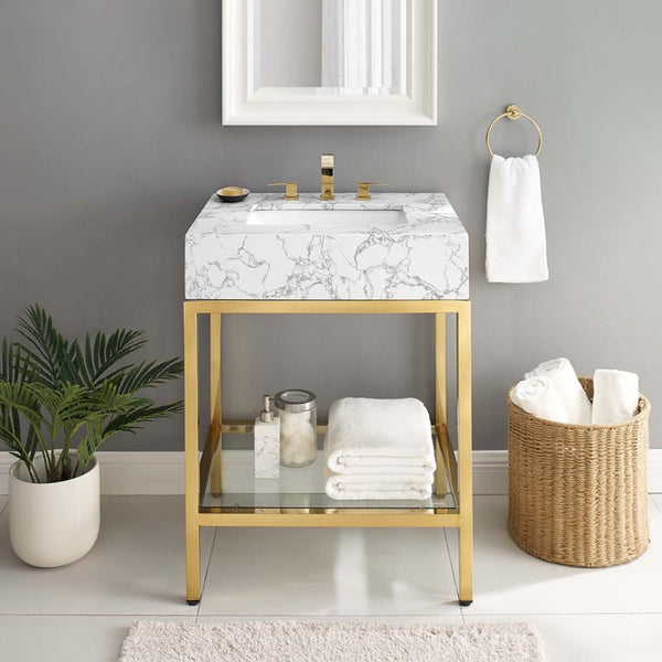 "Scarlet 26"" Gold Stainless Steel Bathroom Vanity"