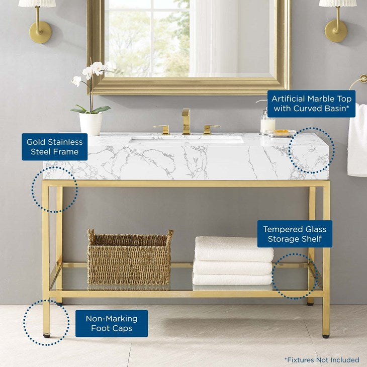 "Scarlet 50"" Gold Stainless Steel Bathroom Vanity"