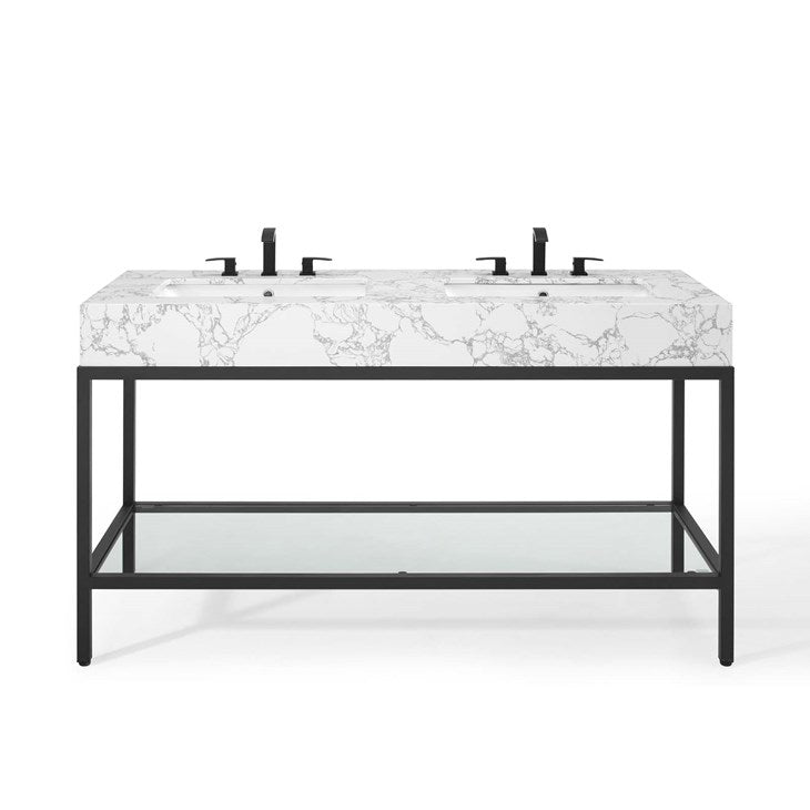 "Scarlet 60"" Black Stainless Steel Bathroom Vanity"