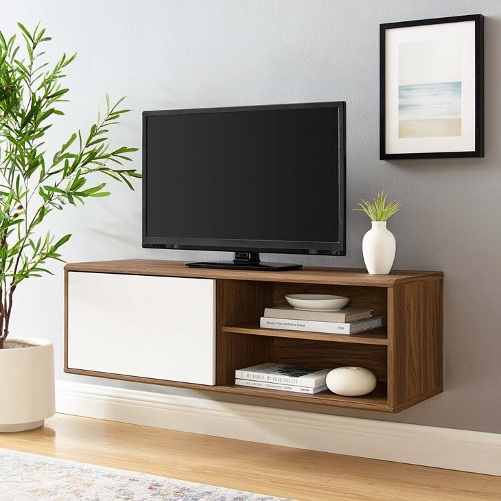 "Vision 46"" Wall Mount TV Stand in Walnut White"