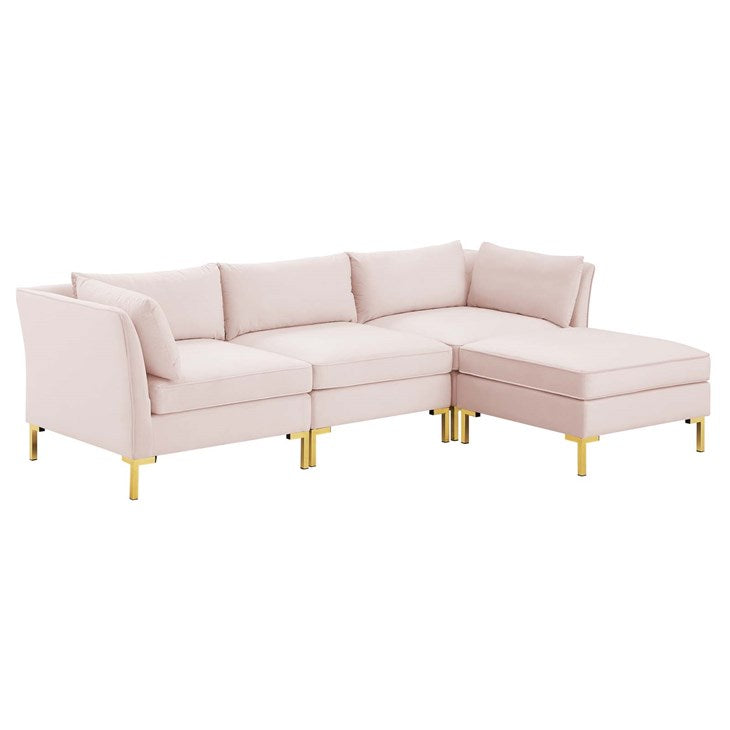 Heidel 4-Piece Performance Velvet Sectional Sofa