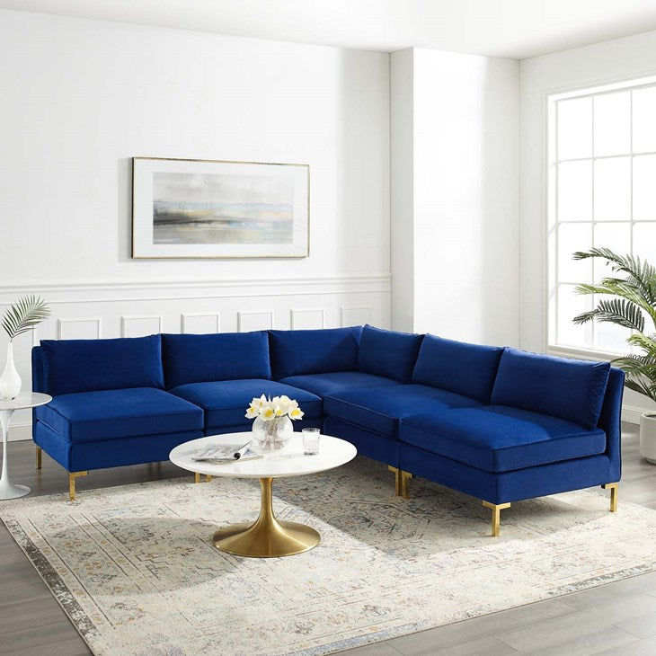 Heidel 5-Piece Performance Velvet Sectional Sofa