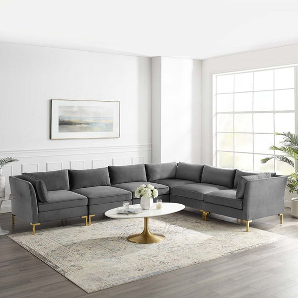 Olivia 6-Piece Performance Velvet Sectional Sofa