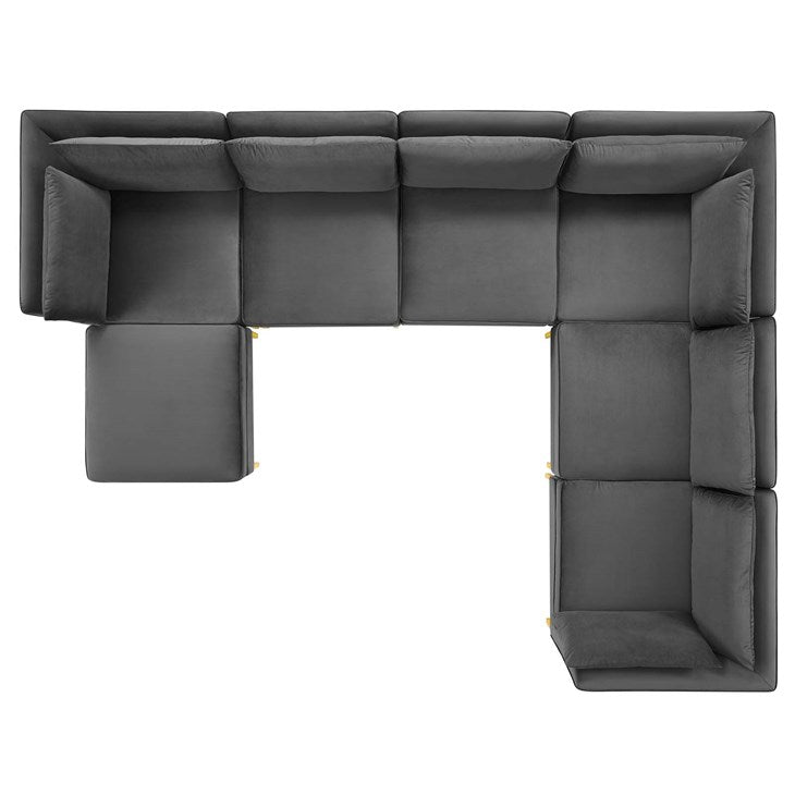 Penelope 7-Piece Performance Velvet Sectional Sofa