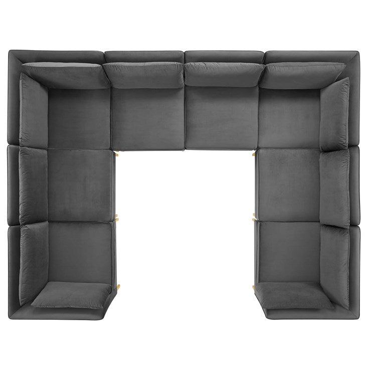 Heidel 8-Piece Performance Velvet Sectional Sofa