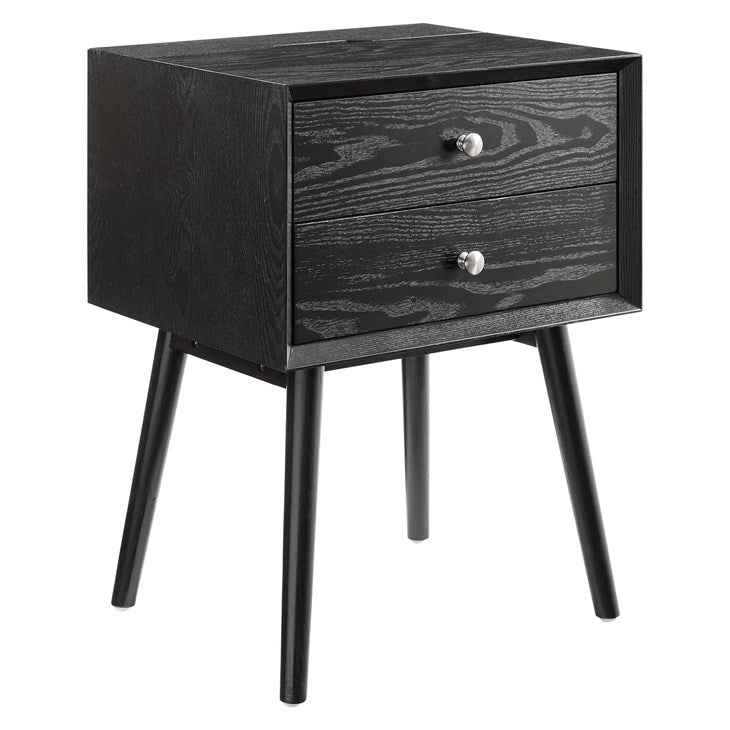 Mediah Wood Nightstand With USB Ports