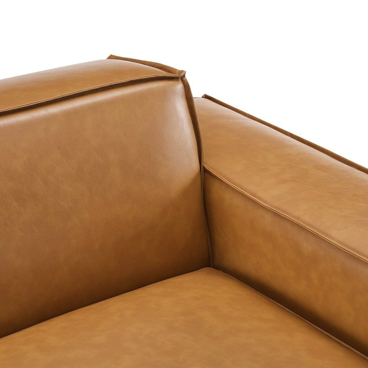 Vitality Left-Arm Vegan Leather Sectional Sofa Chair in Tan