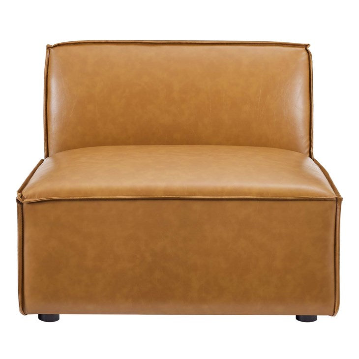 Vitality Vegan Leather Sectional Sofa Armless Chair in Tan