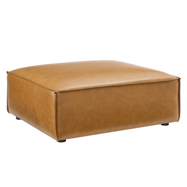 Vitality Vegan Leather Ottoman in Tan