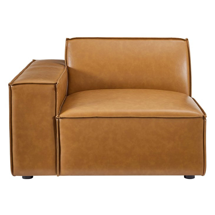Vitality Vegan Leather Loveseat in Tan