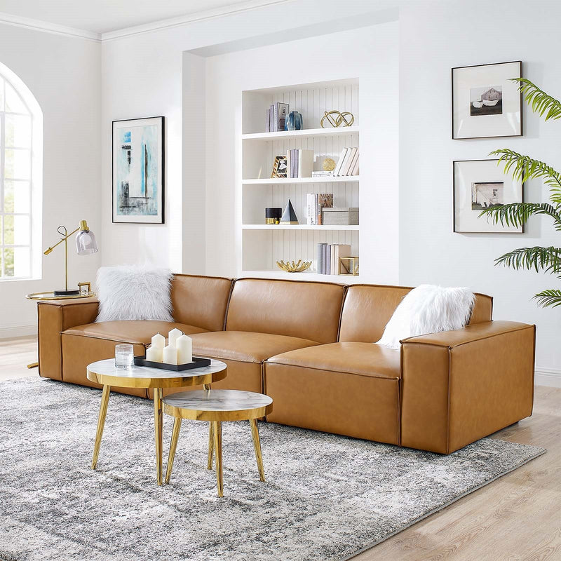 Vitality Vegan Leather 3-Piece Sofa in Tan