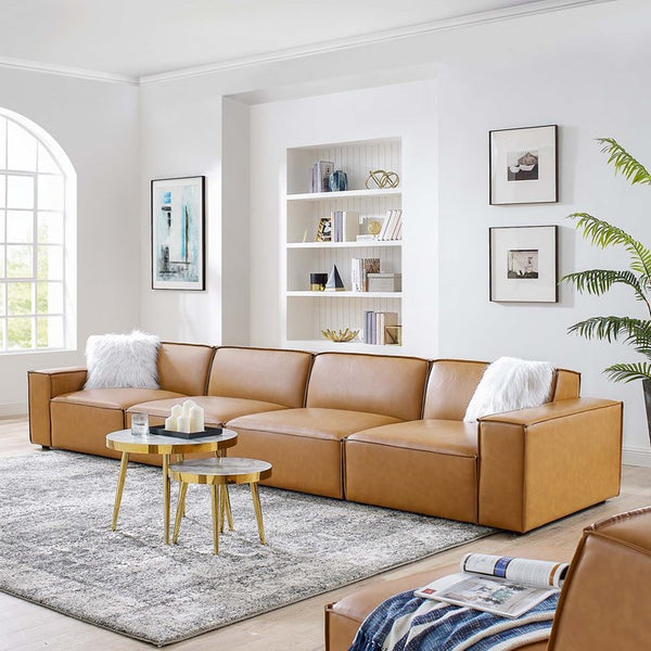 Vitality Vegan Leather 4-Piece Sofa in Tan