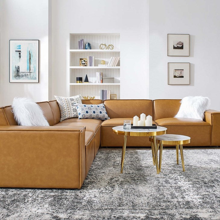 Vitality 5-Piece Vegan Leather Sectional Sofa in Tan