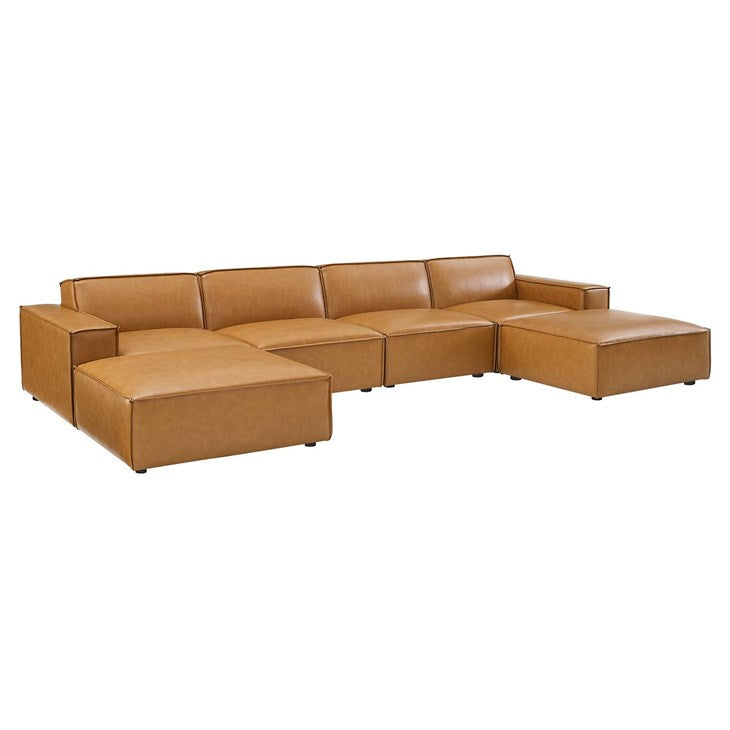 Vitality 6-Piece Vegan Leather Sectional Sofa in Tan