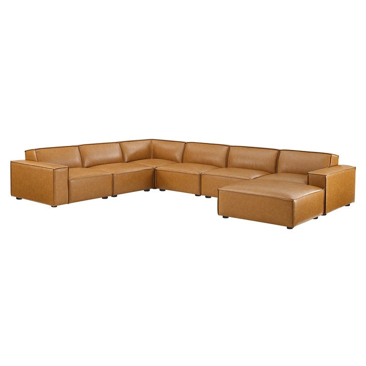 Vitality 7-Piece Vegan Leather Sectional Sofa in Tan
