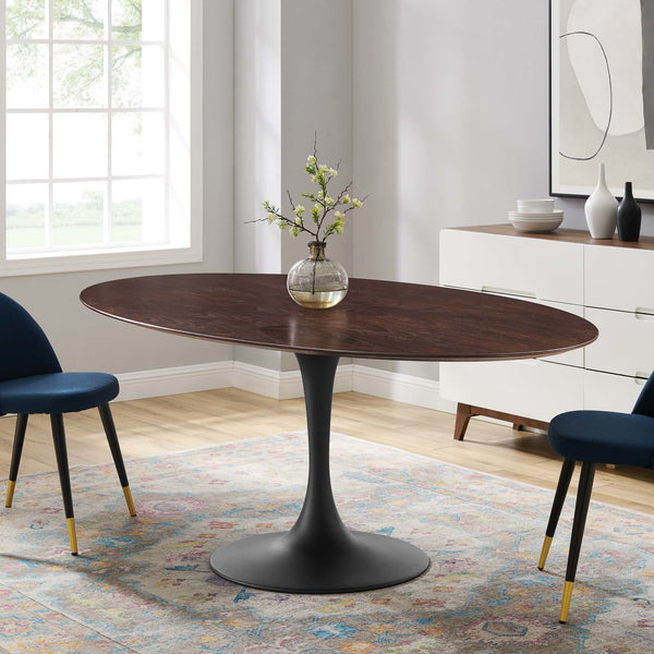 "Tulip Style 78"" Black Cherry Walnut Oval Dining Table"