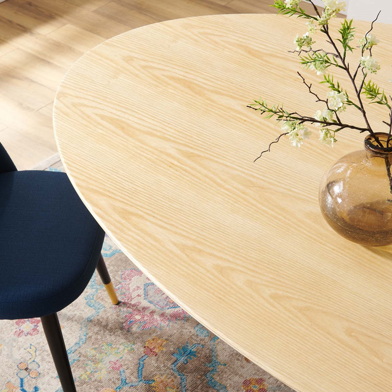 "Tulip 78"" Black Natural Oval Dining Table"