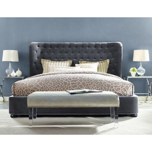 Philly Queen Grey Velvet Bed Frame - living-essentials