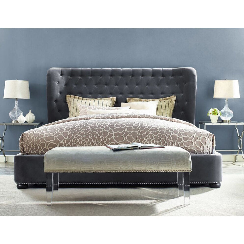 Philly King Velvet Grey Bed Frame - living-essentials