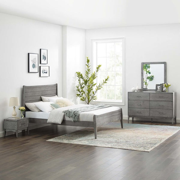 Boston 4 Piece Bedroom Set in Gray