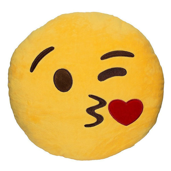 Kissing Wink Emoji Pillow - living-essentials