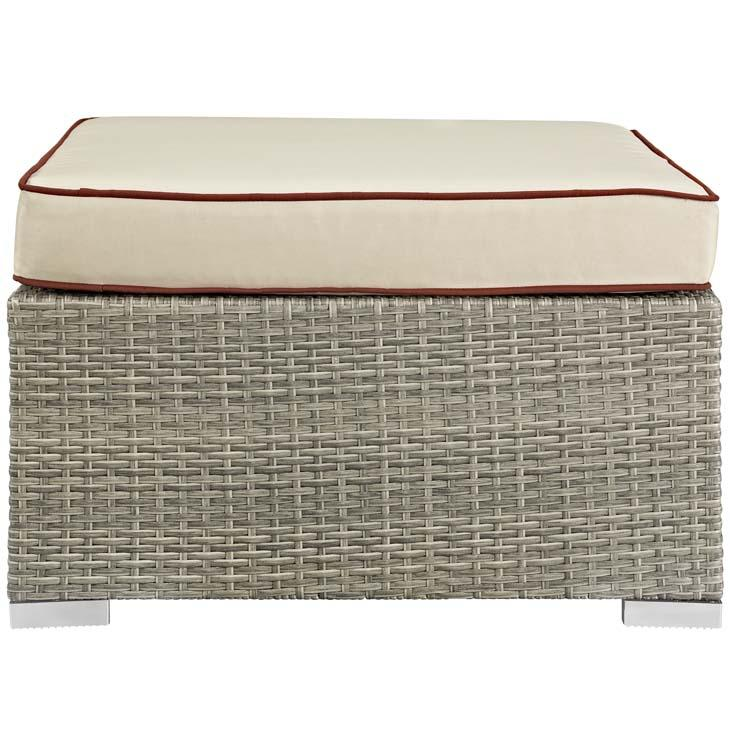 Rennie Outdoor Patio Upholstered Fabric Ottoman - living-essentials