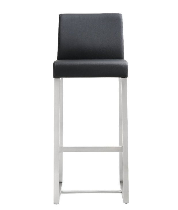 Deangelo Black Stainless Steel Barstool (Set of 2) - living-essentials