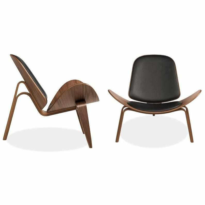 Hans J. Wegner Style Aniline Shell Chair - living-essentials