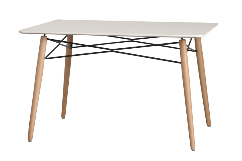 Eiffel White Wood Top Dining Table - living-essentials