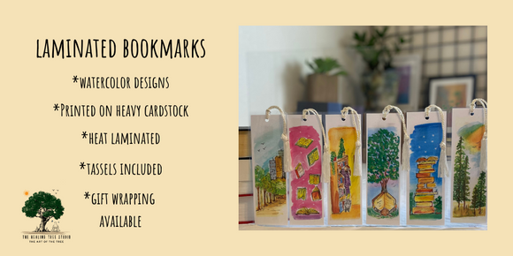 Handmade laminated bookmarks. From original watercolor paintings. Seven by two inches. Set of five with cord tassels.