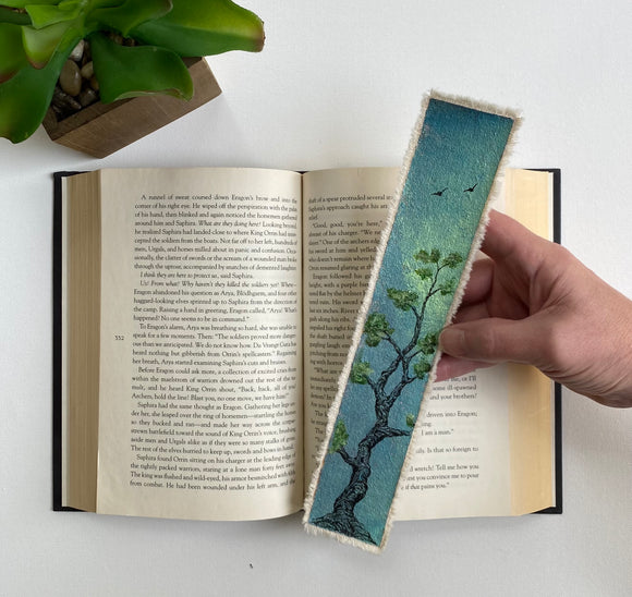 Bookmark With Trees | Handmade Bookmark | Canvas Bookmark | Bookmark Gift | Book Lover Gift | Gift For Readers | Bonsai Bookmark