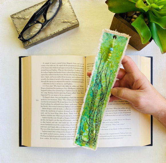 Tree Lovers Canvas Bookmark Art. Handmade With Multiple Green Colors. Unique, One Of A Kind With Custom Glass Beaded Tassel