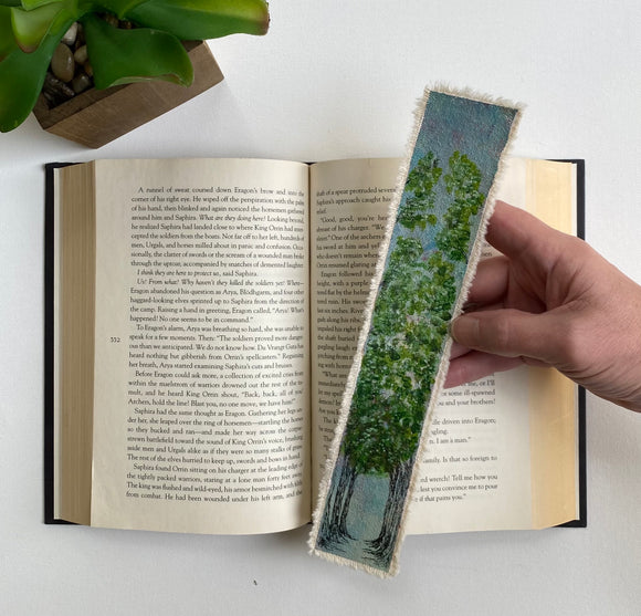 Bookmark With Trees | Handmade Bookmark | Canvas Bookmark | Bookmark Gift | Book Lover Gift | Gift For Readers